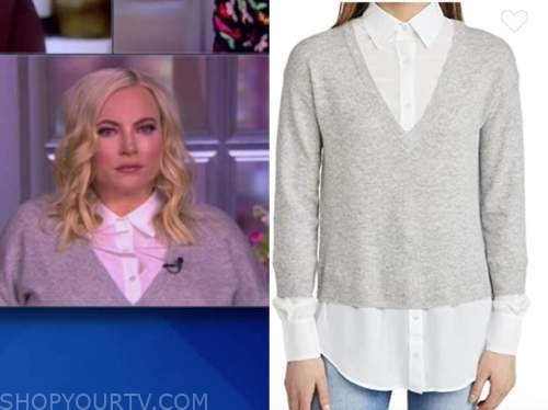 meghan mccain, the view, gray shirt collar layered sweater