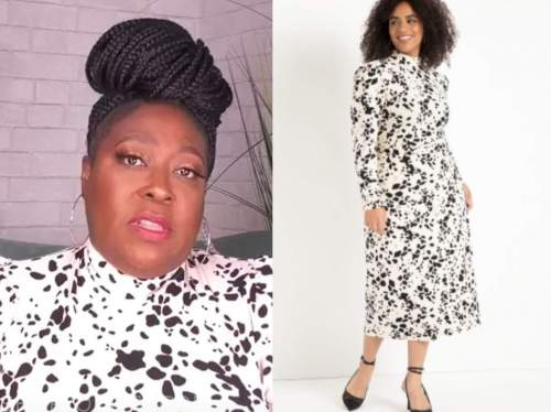 loni love, the real, black and white printed mock neck dress