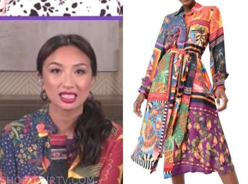 jeannie mai, the real, mixed print shirt dress