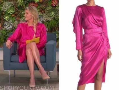 amanda kloots, the talk, hot pink jacquard satin dot dress