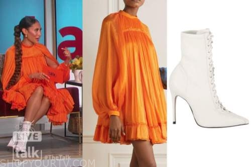elaine welteroth, the talk, orange mini dress, white lace-up booties