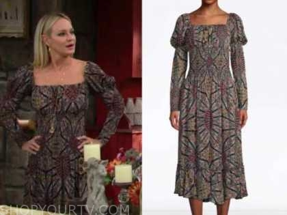 sharon newman, sharon case, the young and the restless, floral paisley puff sleeve midi dress