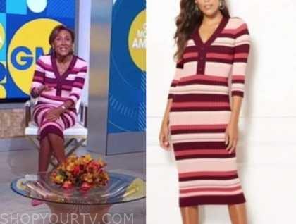 good morning america, robin roberts, pink striped knit dress