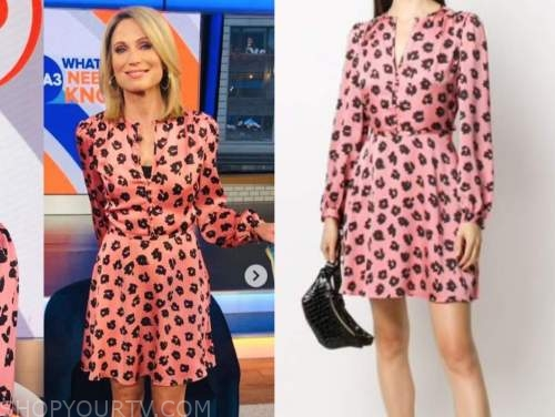 amy robach, good morning america, gma3, pink and black silk leopard dress