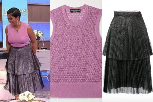 tamron hall, tamron hall show, pink metallic knit sleeveless top, pleated skirt