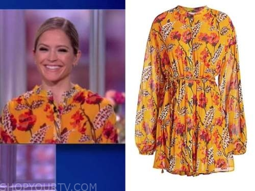 sara haines, the view, yellow floral dress