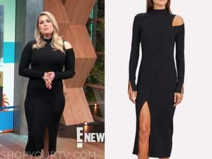 carissa culiner, E! news, daily pop, black ribbed knit slit cutout dress