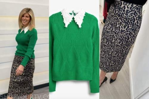 kate garraway, good morning britain, green collar jumper, leopard skirt