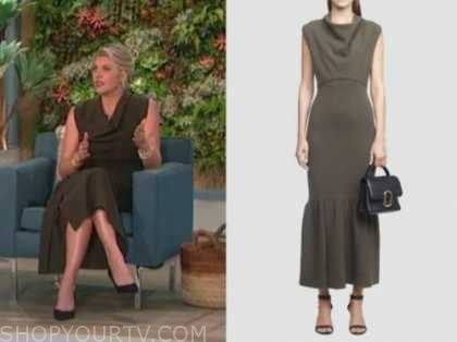 amanda kloots, the talk, olive green cowl neck midi dress