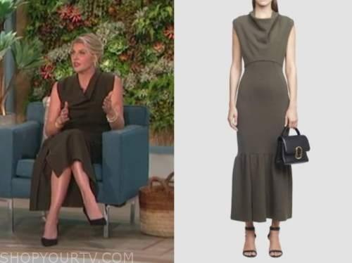 amanda kloots, the talk, olive green cowl neck midi dress