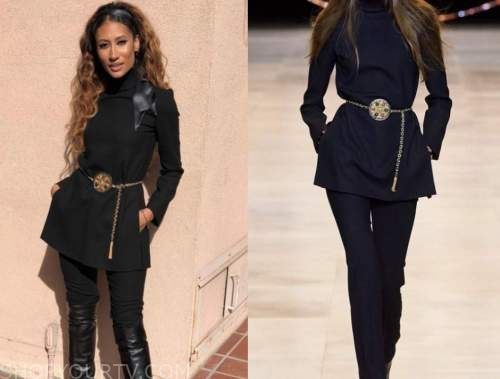 elaine welteroth, the talk, black mock neck top, gold chain belt