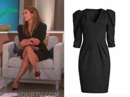 carrie ann inaba, the talk, black puff sleeve sheath dress
