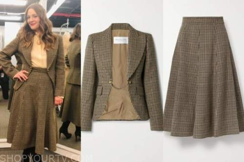 drew barrymore, drew barrymore show, brown houndstooth blazer and skirt suit