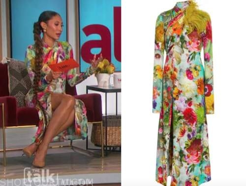 elaine welteroth, multicolor floral midi dress, the talk