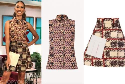 elaine welteroth, the talk, sleeveless shirt, flare skirt