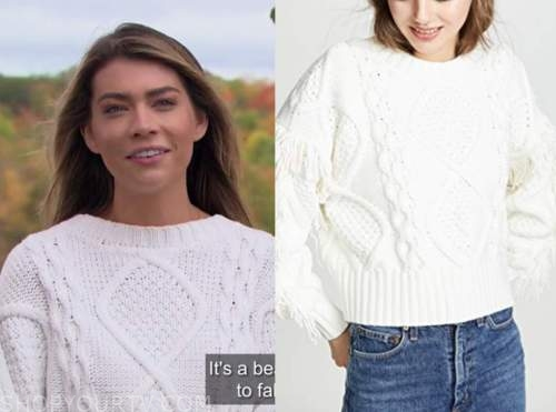 sarah trott, the bachelor, white cable knit sweater