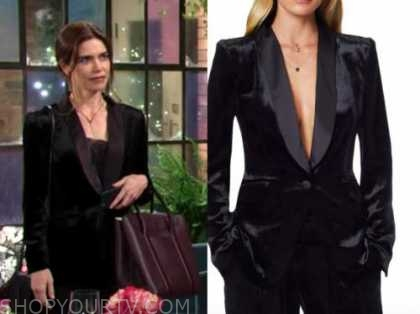 victoria newman, amelia heinle, the young and the restless, black velvet blazer