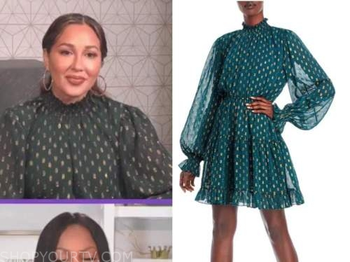adrienne bailon, the real, green metallic dot mock neck dress
