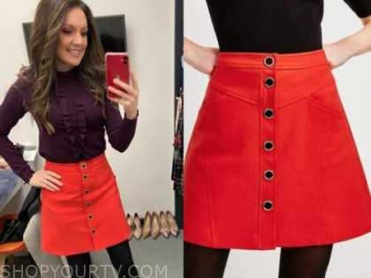 laura tobin, good morning britain, red button front mini skirt