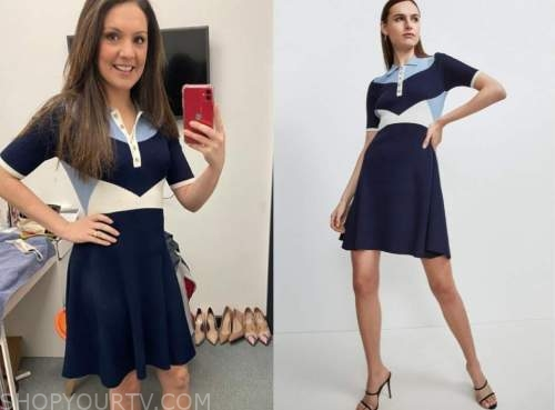 good morning britain, laura tobin, blue colorblock knit polo dress