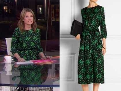 savannah guthrie, the today show, green floral midi dress