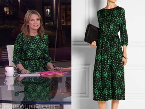 savannah guthrie, the today show, green floral midi dress