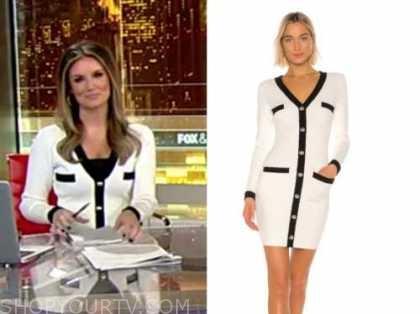 jillian mele, fox and friends, black and white knit contrast trim cardigan dress