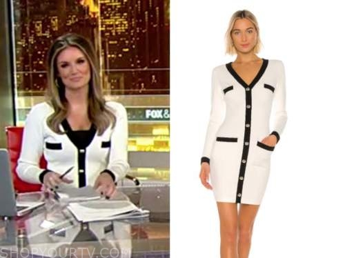 jillian mele, fox and friends, black and white knit contrast trim cardigan dress