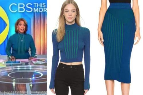gayle king, blue striped knit top and skirt, cbs this morning