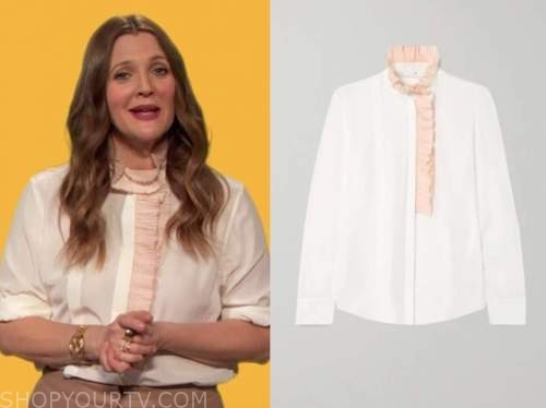 drew barrymore, drew barrymore show, white and pink ruffle trim blouse