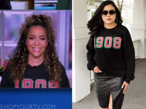 sunny hostin, the view, black 1908 sweatshirt