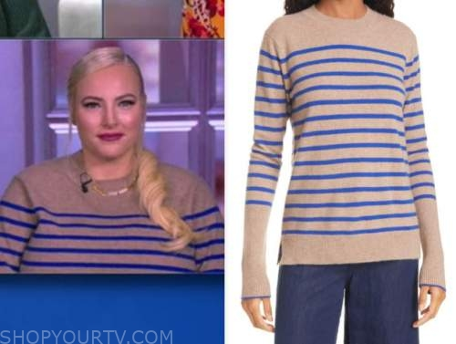 meghan mccain, the view, beige and blue striped sweater