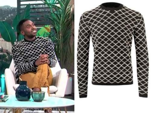 justin sylvester, E! news, daily pop, black and white sweater