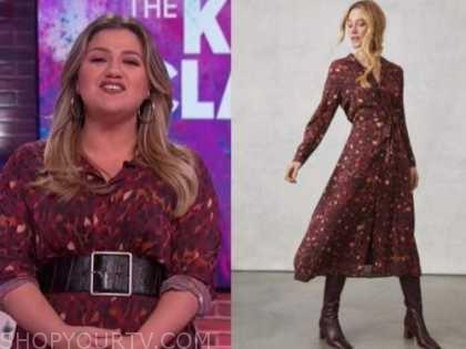 kelly clarkson, the kelly clarkson show, burgundy printed midi shirt dress