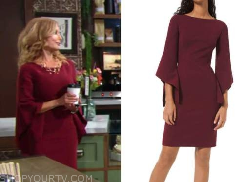 lauren fenmore baldwin, tracey bregman, the young and the restless, burgundy bell sleeve sheath dress