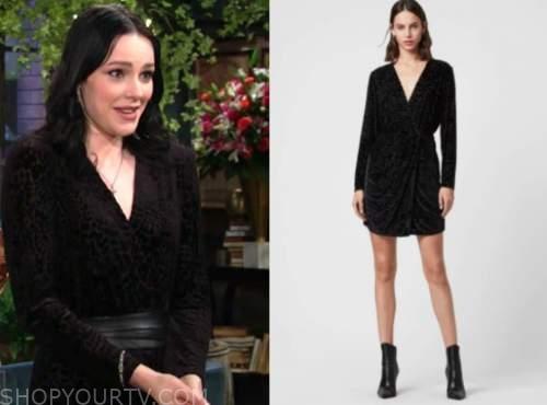 tessa porter, cait fairbanks, the young and the restless, black velvet drape dress
