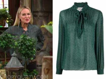 sharon newman, sharon case, the young and the restless, green printed tie neck blouse