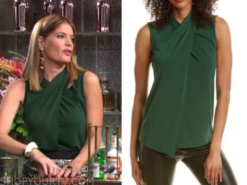 michelle stafford, the young and the restless, green cross neck top, phyllis newman