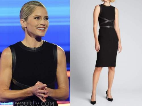 sara haines, the chase, black leather trim sheath dress