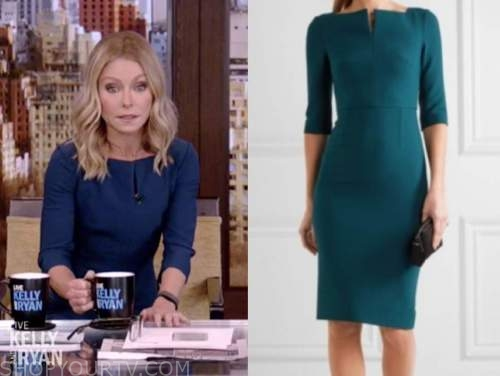 kelly ripa, live with kelly and ryan, teal sheath dress