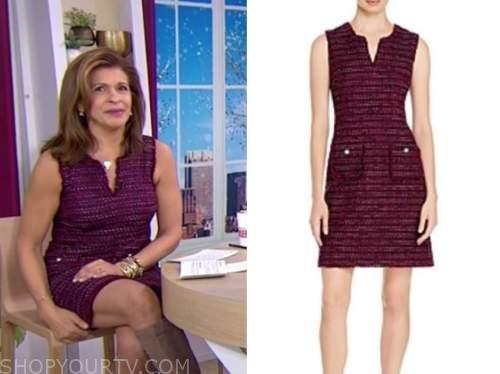 hoda kotb, the today show, purple tweed sheath dress