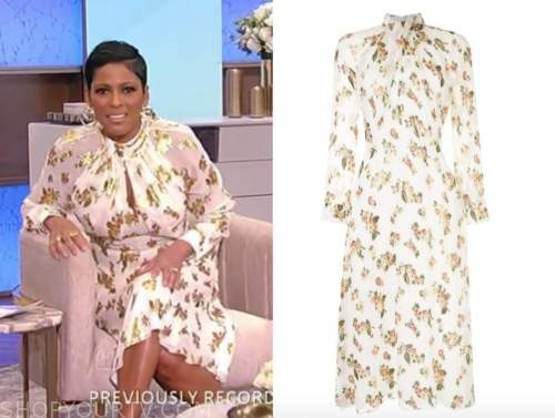 tamron hall, tamron hall show, white metallic floral keyhole mock neck midi dress