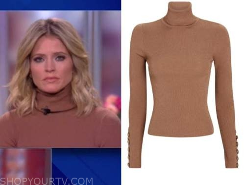 sara haines, the view, beige turtleneck sweater top