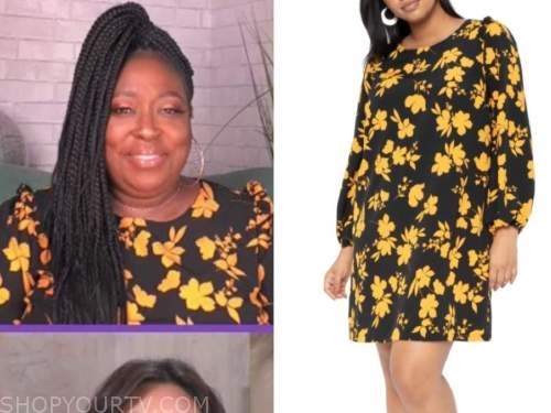 loni love, the real, black and yellow floral ruffle dress