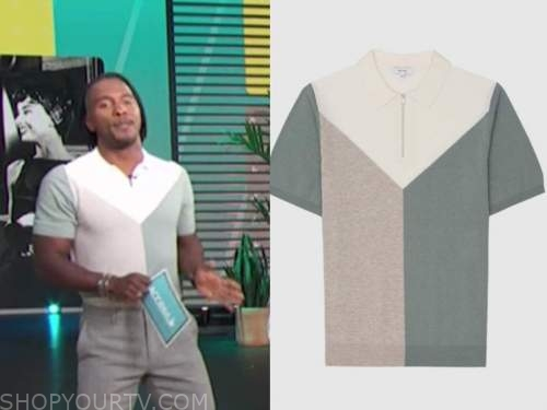 scott evans, access daily, green colorblock knit polo top