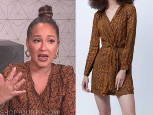 adrienne bailon, the real, gold snakeskin dress
