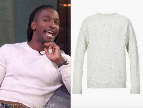 scott evans, access daily, white crewneck speck sweater