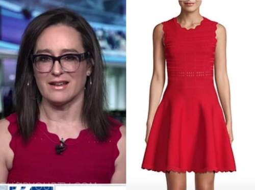 kennedy, outnumbered, red knit scallop dress