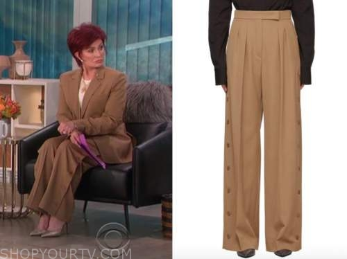 sharon osbourne, the talk, brown side button wide leg pants