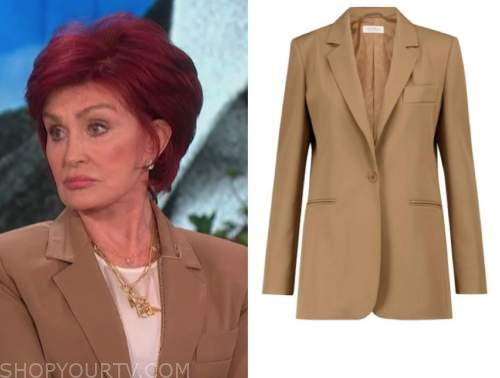 sharon osbourne, brown stitch blazer, the talk
